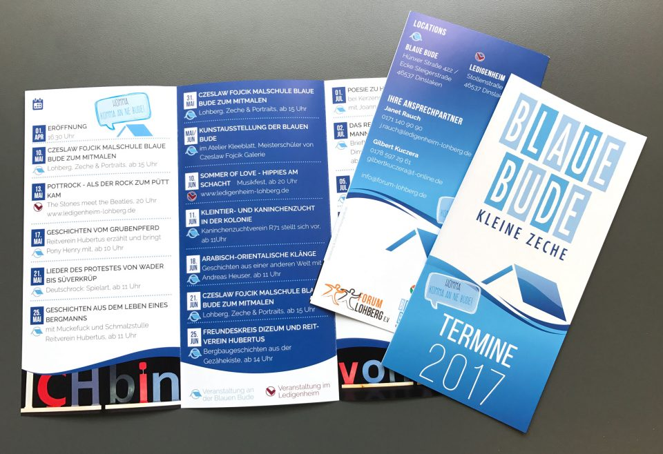 Faltblätter Flyer Blaue Bude Lohberg Termine 2017